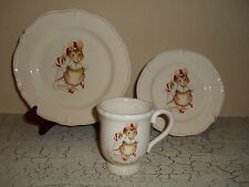 12pc MAGENTA Mouse & Candy Cane Dinnerware Set Twas The Night Before Christmas