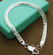 """8"""" 6mm argento placcato braccialetto catena di frumento Men's Women's Boyfriend regalo di compleanno"""