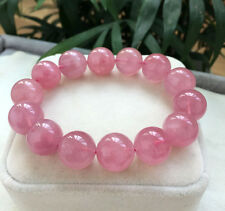 16mm Natural Madagascar Rose Quartz Crystal Round Beads Bracelet AAA