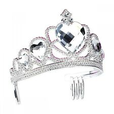 Silver Plastic Tiara With Clear Heart Stones - Princess Ballet Dance