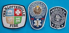 LOT OF 3 FIRE DEPARTMENT PATCHES! CHARLOTTESVILLE FIRE, NORFOLK FIRE, CHESAPEAKE
