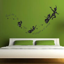 Cute Tinkerbell Second Star To The Right Peter Pan Wall Sticker Kids Room Decor