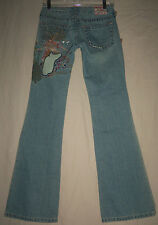 TRUE RELIGION JEANS USA 27 NWT Bobby Denim Flare Lowrise Embroidered Jeans 04528