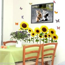 SUNFLOWERS BUTTERFY ROOM WALL ART REMOVABLE STICKERS VINYL DECAL HOME DECORATION
