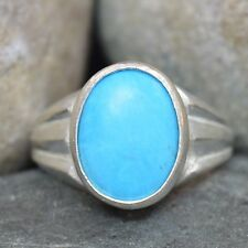 Blue Turquoise Natural 3 Mark 5 Ct 925 Sterling Silver Mens Ring In All Sizes