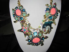 Betsey Johnson Shell Shocked Blue Coral Stone Frontal Necklace