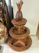 1960s-1970s Carved 3 Tier Monkey Pod Wood Lazy Susan Luau Server/Platter