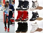 Womens Velcro Strap High-TOP Sneakers Shoes/Ladys Ankle Wedge Boots size:2.5-7