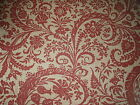 "GP & J BAKER CURTAIN FABRIC DESIGN ""Giant Scroll"" 1.5 METRES RED AND GOLD"
