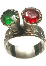 18thC Russian Crimean Tatar Silver Ring Ruby Red Emerald Green Glass Gems Sz 9¾