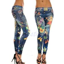 Women's Fashion Jeans Look Skinny Jeggings Stretchy Slim Leggings Soft Pants New