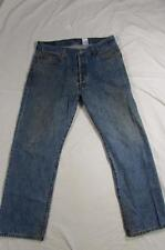 Levi 501 Button Fly Straight Leg Faded Denim Jeans Tag 36x29 Measure 34x29