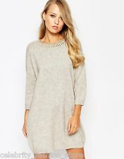 French Connection Casual Wool Beige Ruby Knitted Jumper Dress 10 38 £85 New