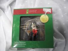 Country Artists holiday ornament black white cat wreath around neck NIB