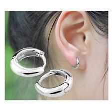 Cute Hoop Ear Stud Polishing Earrings Women's Silver Plated Wedding Jewellery