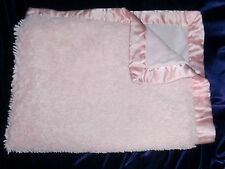 Koala Baby Thick Shaggy Furry Baby Girl Pink Blanket Satin Trim Lace Heart