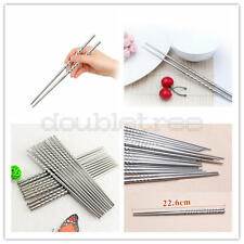 Chopsticks 5 Pair Metal Reusable Korean Chinese Stainless Steel Chop Sticks