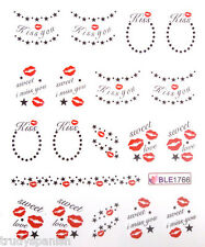 Nail Art Stickers Water Decals Decoration Valentines Love Stars Bows Lips 1766