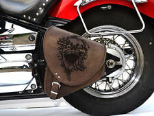 Brown Leather Swingarm Skull Single Pannier Saddle Bag Harley Davidson Softail