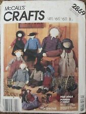 McCALL'S Sewing Pattern #2869 FOLK PRIMITIVE DOLL & CLOTHES Craft UNCUT