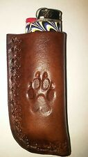 LEATHER BIC LIGHTER CASE. WOLF TRACK
