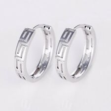 Hot 18k White Gold Filled Womens Earrings 17mm Unique Hoops Charm Jewelry NEW