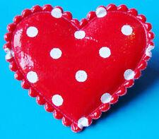 RED POLKA DOT PVC HEART ROCKABILLY BROOCH PIN LOVE