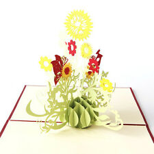 Hot 3D Pop Up Greeting Cards Sunflower Christmas Mother Day Birthday Thank Gifts