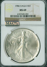 1986 SILVER EAGLE 1-OZ DOLLAR NGC MAC MS-69 PQ 2ND FINEST REGISTRY SPOTLESS *