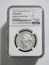 HONG KONG 1891 50 CENT NGC XF DETAILS TYPE ASIA SILVER OLD COIN COLLECTION LOT