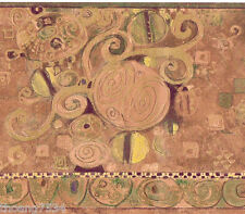 Modern Contemporary Scroll Abstract Shimmer Bronze Copper Gold Wall paper Border