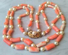 VINTAGE 9CT GOLD ANGEL SKIN CORAL & CULTURED PEARL DOUBLE STRAND NECKLACE