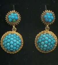 Antique Victorian 14k Yellow Gold Paved Turquoise Dangle Earrings 8.6 gm