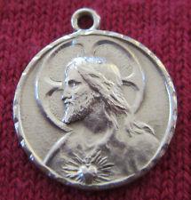 Vintage Catholic Religious Holy Medal - STERLING - Sacred Heart // OL Carmel