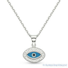 Evil Eye Bead Pendant Greek Key Turkish Nazar Hamsa 925 Sterling Silver Necklace