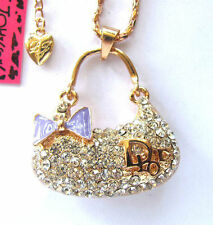 Betsey Johnson Shiny crystal Decorative bow bag pendant Necklace,#012L