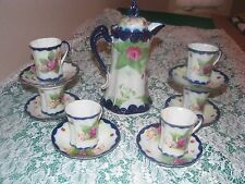 14 PC NIPPON HANDPAINTED ROSES COBALT BLUE CHOCOLATE POT,CUPS & SAUCERS SET