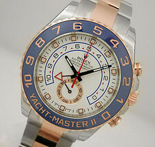 Rolex YACHT MASTER II 116681 Mens Steel & Pink Gold Blue Ceramic Bezel 44MM