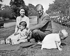 Queen Elizabeth Prince Philip with a young Charles and Anne BW 10x8 Photo