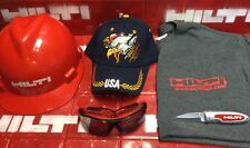 HILTI HARD HAT RED/BLACK, HILTI POCKET KNIFE,HILTI TINTED SAFETY GLASS,FAST SHIP