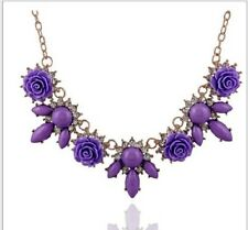 GOLD TONE STATEMENT ROYAL BLUE, PURPLE/ LILAC FACETED BEAD ROSE FLOWER NECKLACE