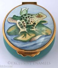 Kingsley Enamels Frog On Lily Pad Enamel Box