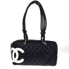 Authentic CHANEL CC Cambon Quilted Shoulder Bag Leather Black Vintage 87P536