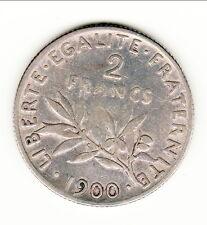 RARE 2 FRANCS SEMEUSE ARGENT 1900