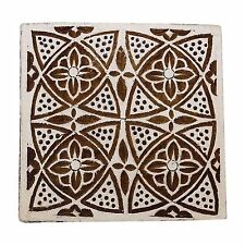 Decorative Handcarved Wooden Textile Brown Floral Stamp Wood Printing Block Art