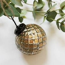 Small Gold Round Faceted Mercury Glass Bauble Mini Vintage Xmas Decoration