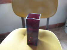 "Teleflora Modern Deep Ruby Red Square Glass Vase/Candle Holder/Planter 9"" Tall"