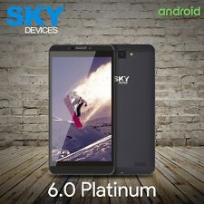 "SKY 6.0 Platinum 6"" 4G 8GB Dual Sim Unlocked Android Lollipop Cellphone Gray New"