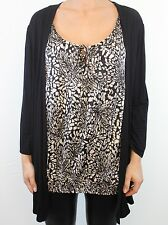 DEBENHAMS Collection 2 in 1 black t-shirt cardigan & butterfly blouse size 18 46