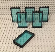 Lego X6 New Black Door Frame 1x4x6 With Trans-light blue Glass Window Wall Parts